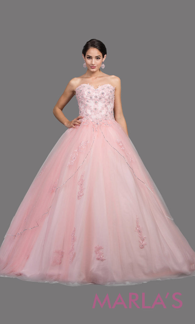 Long strapless blush pink quinceanera ballgown with lace. This pink ball gown can be worn for Sweet 16 Birthday, Sweet 15, Engagement Ball Gown Dress, Wedding Reception Dress, Debut or 18th Birthday. Perfect indowestern gown.Plus sizes Available.