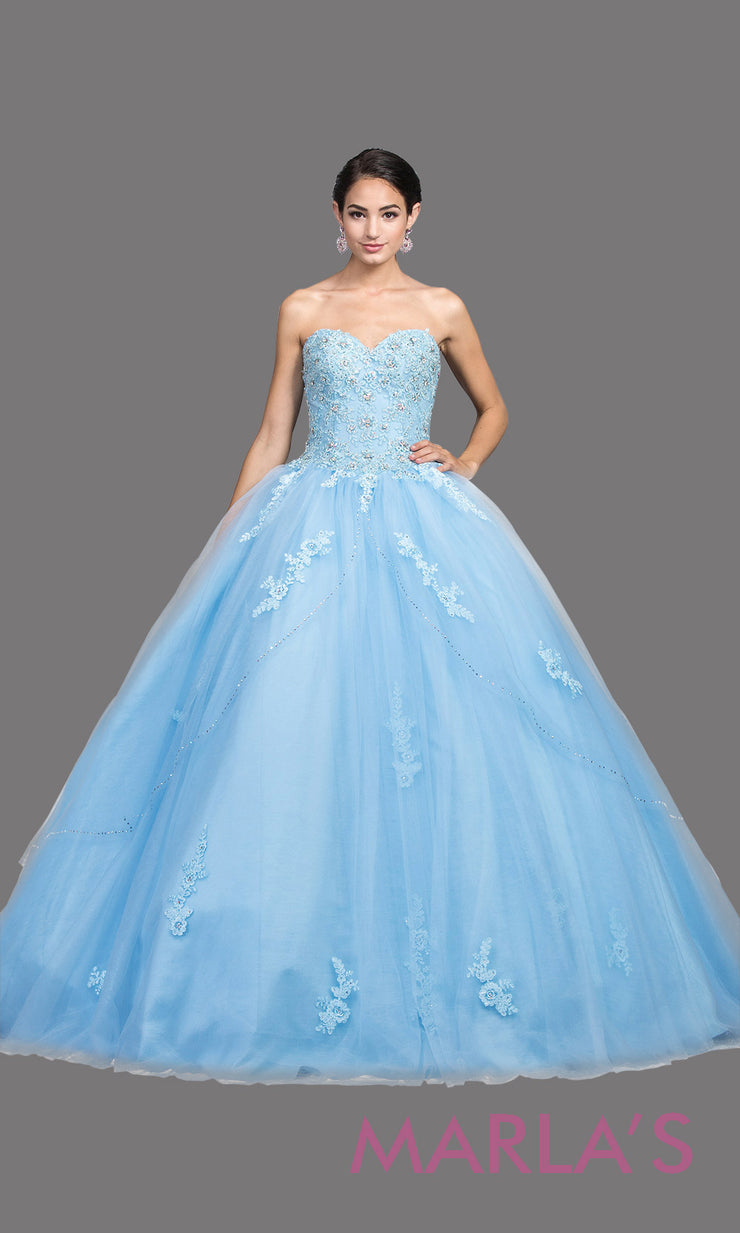 Long strapless periwinkle blue quinceanera ballgown with lace. This light blue ball gown can be worn for Sweet 16 Birthday,Sweet 15, Engagement Ball Gown Dress, Wedding Reception Dress, Debut or 18th Birthday, or indowestern gown.Plus sizes avail.