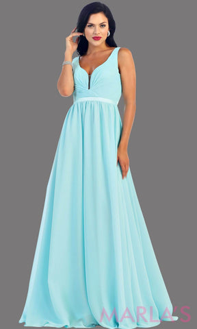 Long aqua dress with wide straps and v neck dress. This simple evening gown is perfect for a wedding guest dress, simple light blue prom dress, or even a bridesmaid dress. This dress is available in plus size
