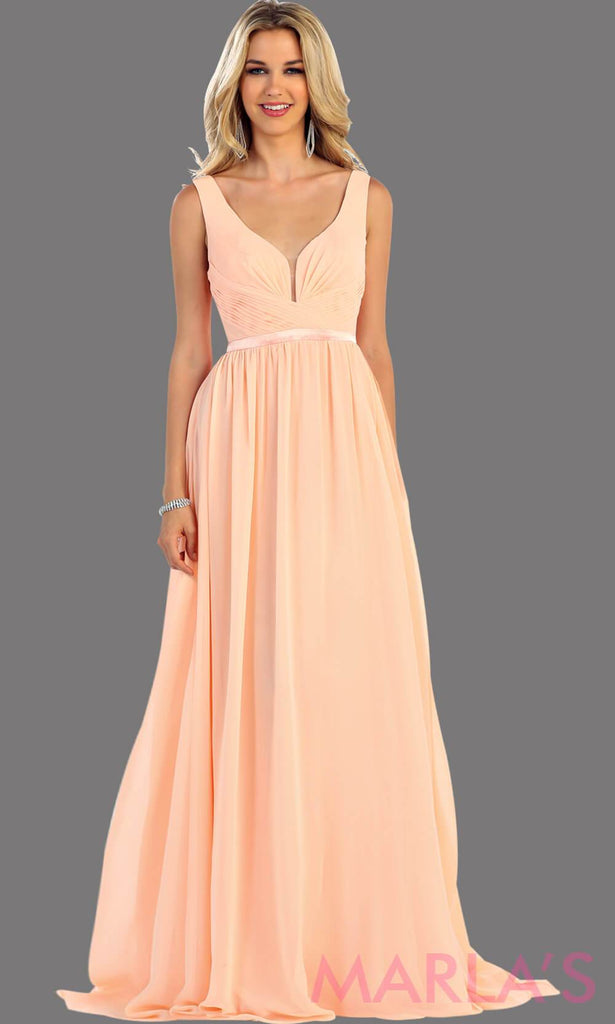 cfe25faced48 Long blush dress with wide straps and v neck dress. This simple evening gown  is ...