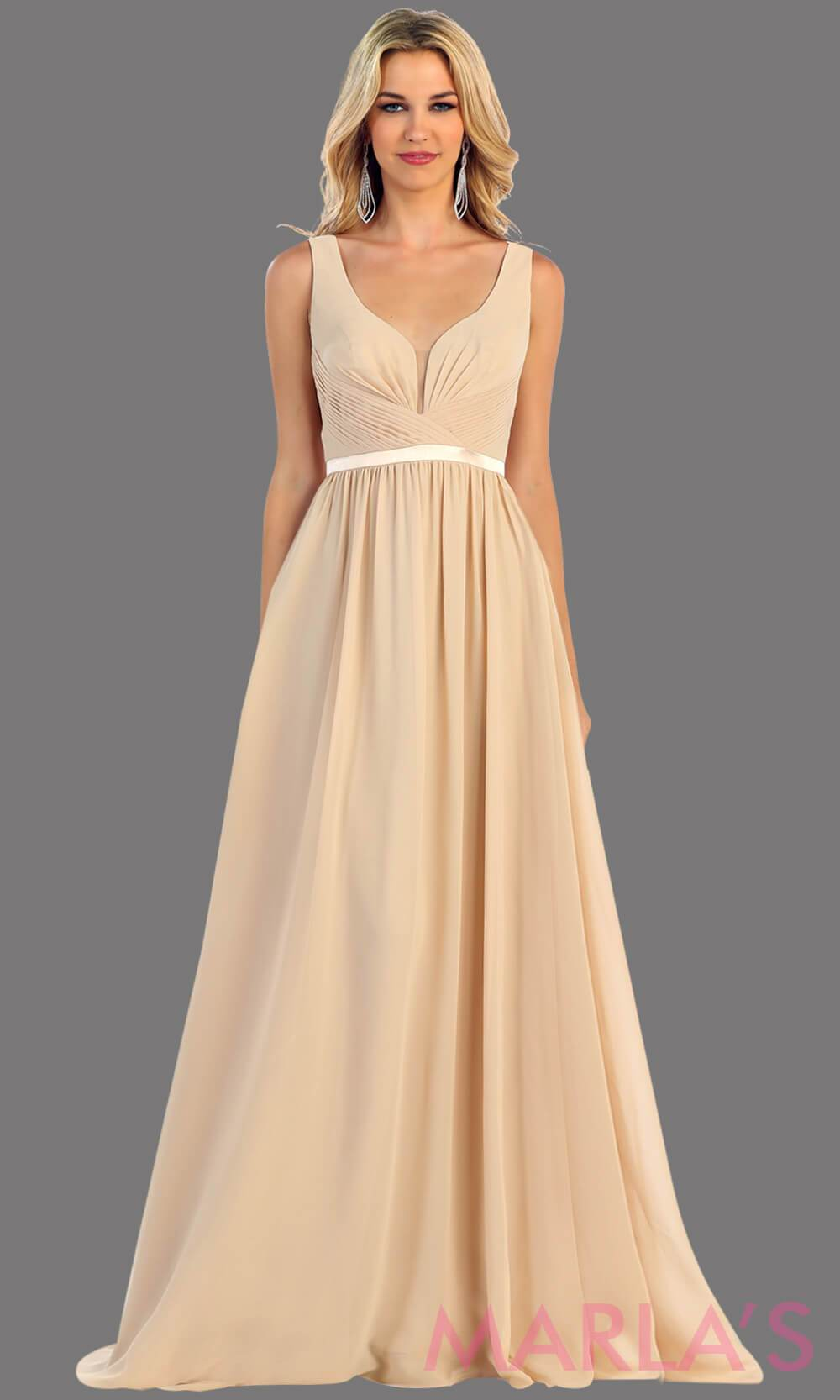 Long champagne dress with wide straps and v neck dress. This simple evening gown is perfect for a wedding guest dress, simple light prom dress, or even a bridesmaid dress. This dress is available in plus size.