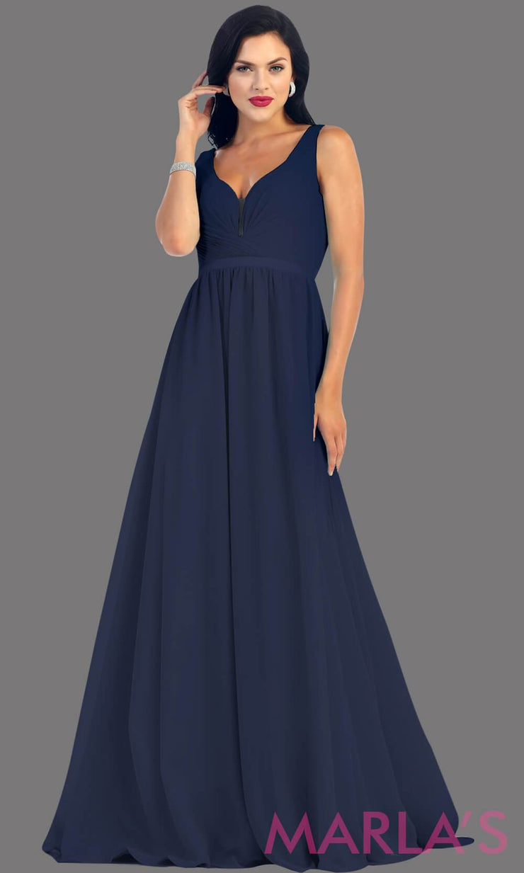 Long Navy dress with wide straps and v neck dress. This simple evening gown is perfect for a wedding guest dress, simple light prom dress, or even a bridesmaid dress. This dress is available in plus size.