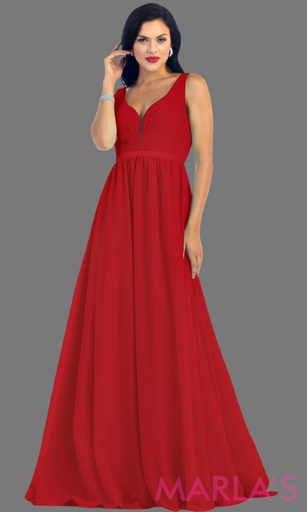 Long Red dress with wide straps and v neck dress. This simple evening gown is perfect for a wedding guest dress, simple light prom dress, or even a bridesmaid dress. This dress is available in plus size.