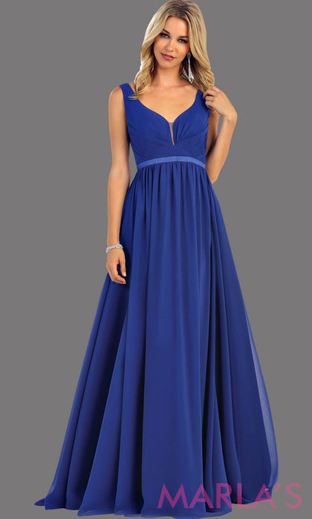 e690bc488e2 Long royal blue dress with wide straps and v neck dress. This simple  evening gown