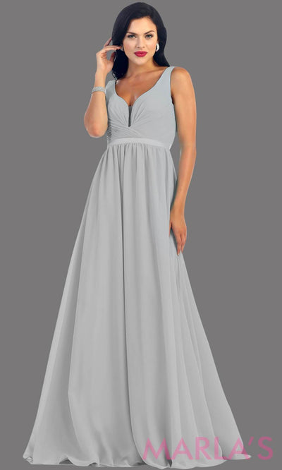 Long Silver dress with wide straps and v neck dress. This simple evening gown is perfect for a wedding guest dress, simple light prom dress, or even a bridesmaid dress. This dress is available in plus size.