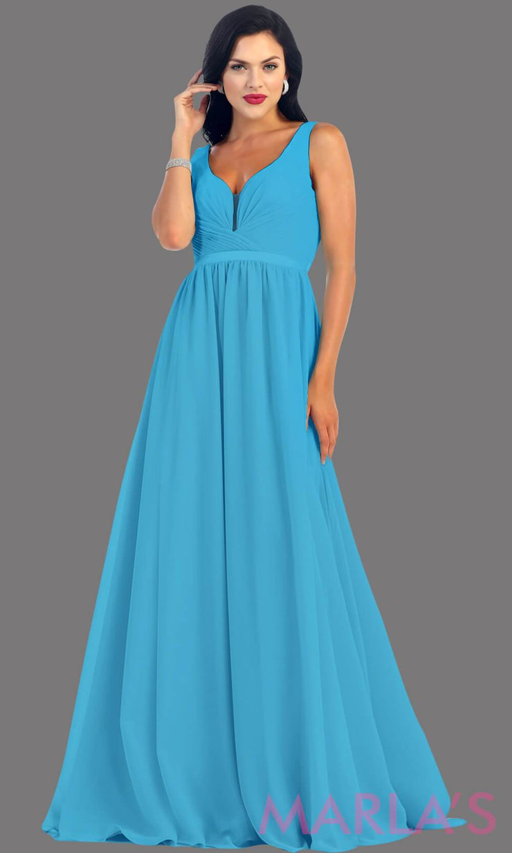 Long Turquoise dress with wide straps and v neck dress. This simple evening gown is perfect for a wedding guest dress, simple light prom dress, or even a bridesmaid dress. This dress is available in plus size.