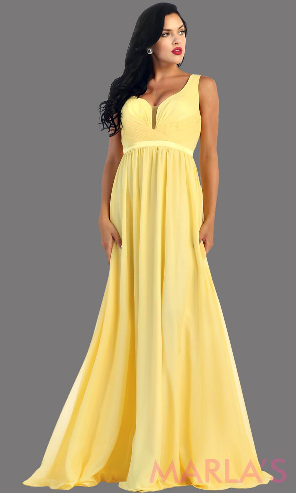 Long yellow dress with wide straps and v neck dress. This simple evening gown is perfect for a wedding guest dress, simple yellow prom dress, or even a bridesmaid dress. This dress is available in plus size