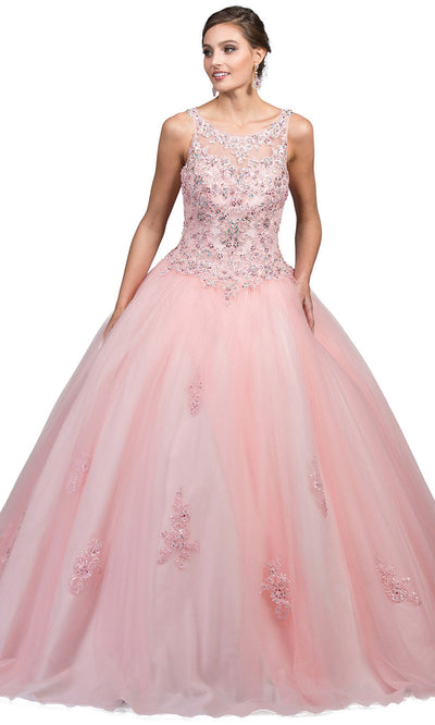 Dancing Queen - 1228 Embellished Scoop Neck Ballgown In Pink