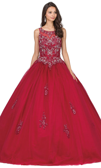 Dancing Queen - 1228 Embellished Scoop Neck Ballgown In Red