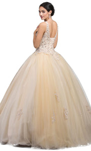 Dancing Queen - 1228 Embellished Scoop Neck Ballgown In Neutral