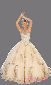Long champagne princess quinceanera high neck ball gown.Perfect for light gold Engagement ballgown dress, Quinceanera, Sweet 16, Sweet 15, Debut and taupe Wedding bridal Reception Dress. Available in plus sizes