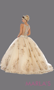 Back of Long champagne princess quinceanera high neck ball gown.Perfect for light gold Engagement ballgown dress, Quinceanera, Sweet 16, Sweet 15, Debut and taupe Wedding bridal Reception Dress. Available in plus sizes
