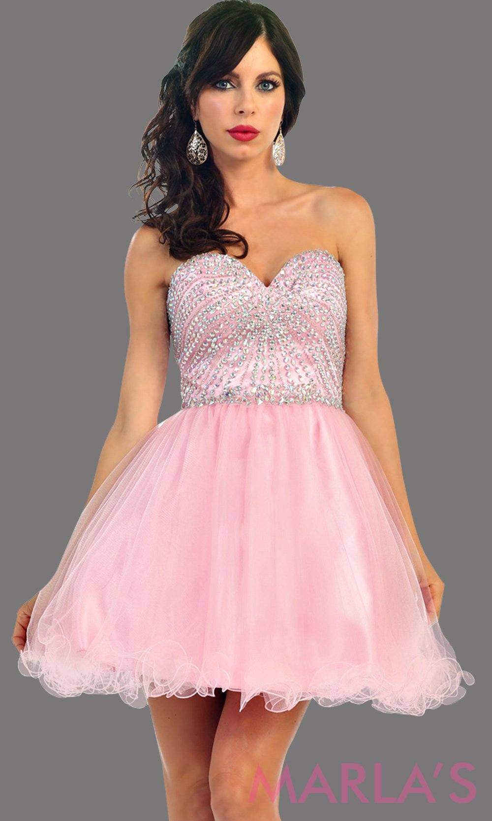 Short puffy pink strapless dress with a beaded bodice. It has a corset bodice with tone on tone beading. This is perfect for grade 8 graduation, homecoming, and blush damas. Available in plus sizes