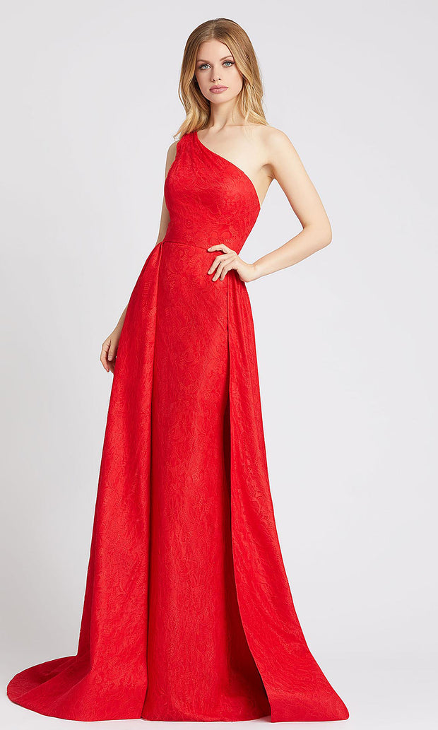 Mac Duggal - 12363L Lace One Shoulder Dress With Overskirt In Red