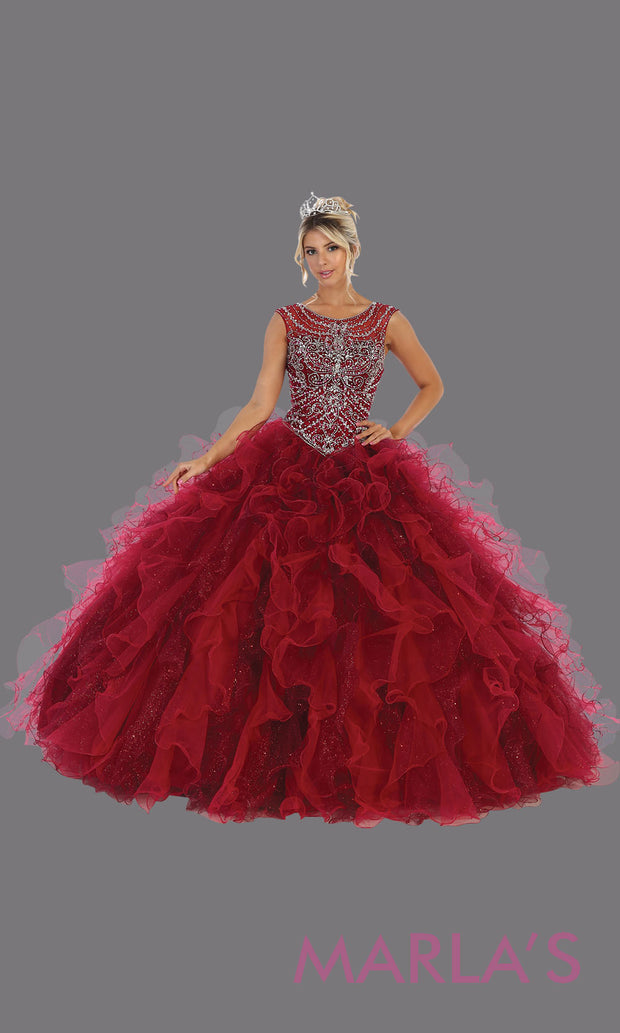 Long burgundy red princess quinceanera high neck ball gown. Perfect for dark red Engagement ballgown dress, Quinceanera, Sweet 16, Sweet 15, Debut and burgundy wine Wedding bridal Reception Dress. Available in plus sizes