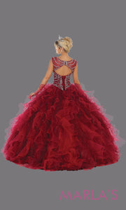 Back of Long burgundy red princess quinceanera high neck ball gown. Perfect for dark red Engagement ballgown dress, Quinceanera, Sweet 16, Sweet 15, Debut and burgundy wine Wedding bridal Reception Dress. Available in plus sizes