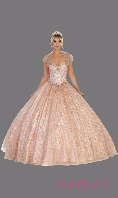 Long rose gold princess quinceanera strapless ball gown with shrug. Perfect for pink gold Engagement ballgown dress, Quinceanera, Sweet 16, Sweet 15, Debut and pink champagne Wedding bridal Reception Dress. Available in plus sizes.