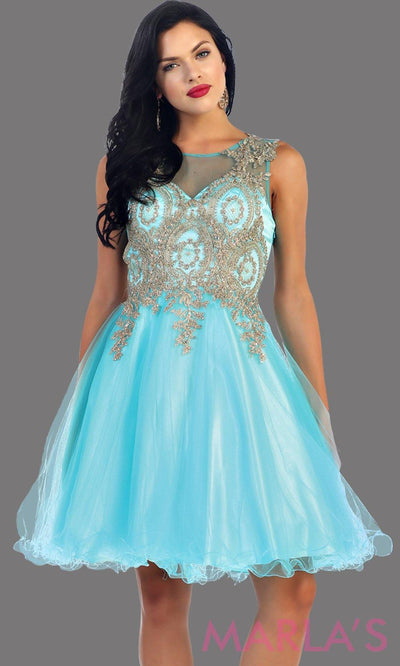 Short puffy aqua dress with gold lace detail. It has an illusion high neck with see thru back. It flows into a puffy skirt. Perfect for blue grade 8 graduation dress, homecoming, or damas. Available in plus sizes