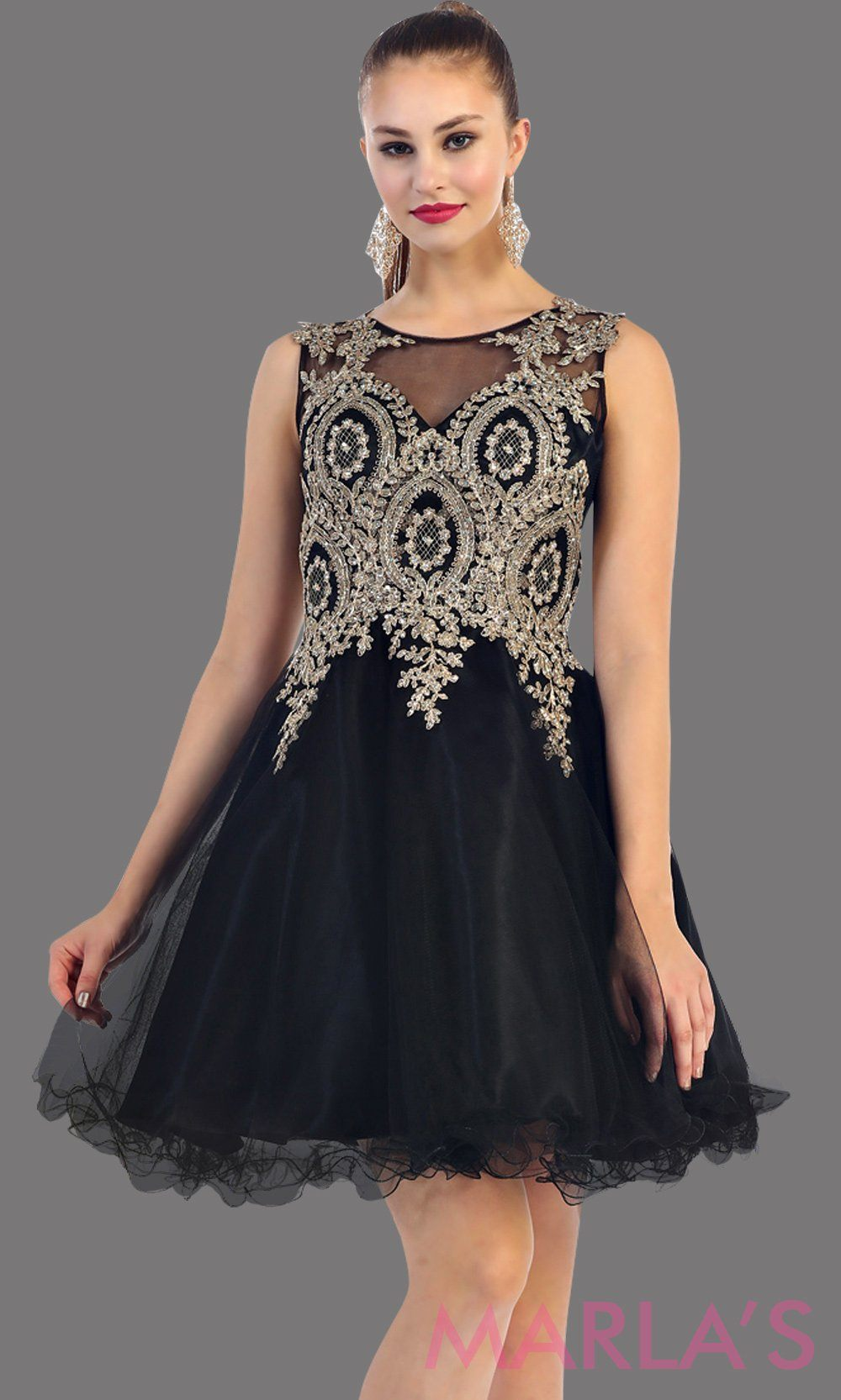 Black Short Puffy Dress with Gold Lace Applique