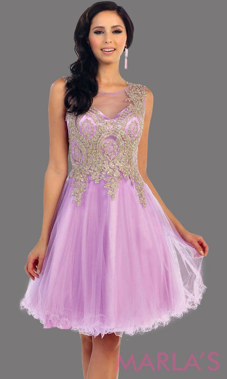 Lilac Short Puffy Dress with Gold Lace Applique