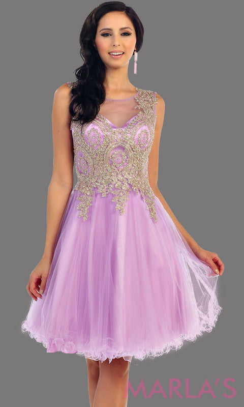 *Lilac Short Puffy Dress with Gold Lace Applique