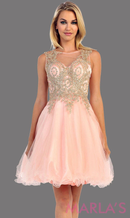 Blush Short Puffy Dress with Gold Lace Applique