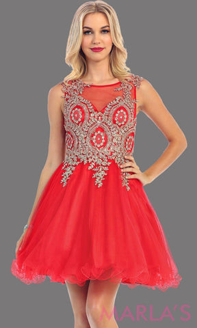 *Red Short Puffy Dress with Gold Lace Applique