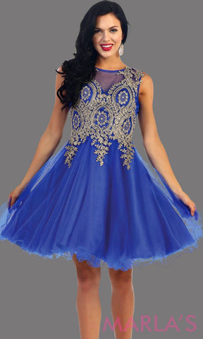 Royal Blue Short Puffy Dress with Gold Lace Applique