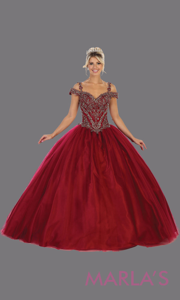 Long burgundy red princess quinceanera offshoulder ball gown.Perfect for dark red Engagement ballgown dress, Quinceanera, Sweet 16, Sweet 15, Debut and dark red Wedding bridal Reception Dress. Available in plus sizes.