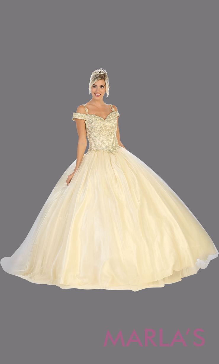 Long champagne princess quinceanera offshoulder ball gown. Perfect for ivory champagne Engagement ballgown dress, Quinceanera, Sweet 16, Sweet 15, Debut and ivory or gold Wedding bridal Reception Dress. Available in plu