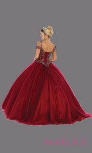 Back of Long burgundy red princess quinceanera offshoulder ball gown.Perfect for dark red Engagement ballgown dress, Quinceanera, Sweet 16, Sweet 15, Debut and dark red Wedding bridal Reception Dress. Available in plus sizes.