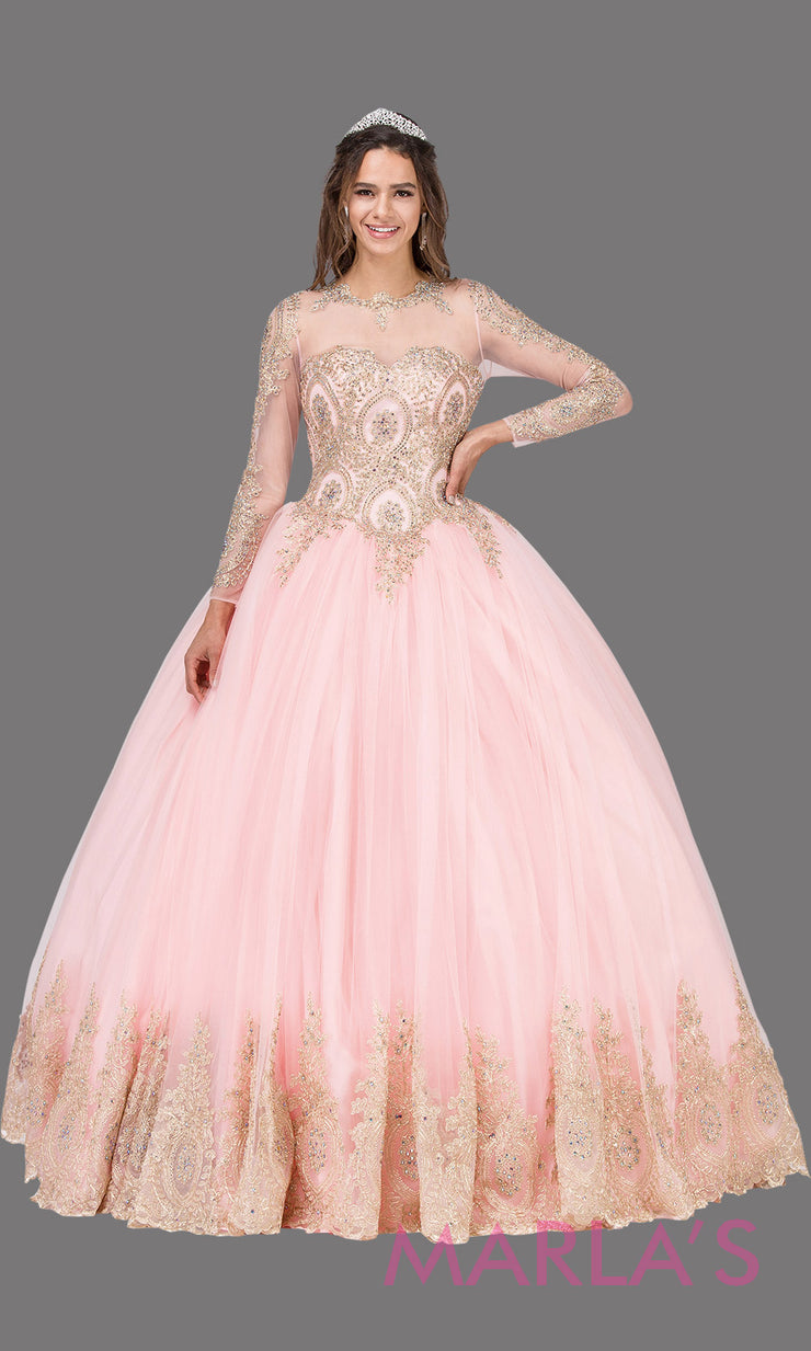 Long sleeve blush pink quinceanera ballgown with lace. This high neck corset back pink ball gown can be worn for Sweet 16 Birthday,Sweet 15, Engagement Ball Gown Dress, Wedding Reception Dress, Debut. Perfect indowestern gown.Plus sizes Available.