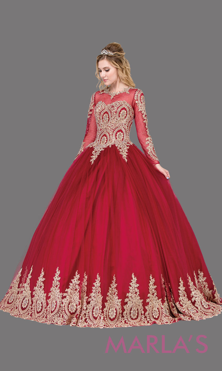 Long sleeve burgundy quinceanera ballgown with lace. This high neck corset back dark red ball gown can be worn for Sweet 16 Birthday,Sweet 15,Engagement Ball Gown Dress, Wedding Reception Dress,Debut. Perfect indowestern gown.Plus sizes Available.