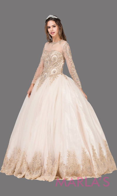 Long sleeve champagne quinceanera ballgown with lace. This high neck corset back light gold ball gown can be worn for Sweet 16 Birthday,Sweet 15, Engagement Ball Gown Dress, Wedding Reception Dress,Debut. Perfect indowestern gown.Plus sizes Avail.
