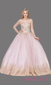 Long sleeve dusty pink quinceanera ballgown with lace. This high neck corset back pink ball gown can be worn for Sweet 16 Birthday, Sweet 15, Engagement Ball Gown Dress, Wedding Reception Dress, Debut. Perfect indowestern gown. Plus sizes Avail.