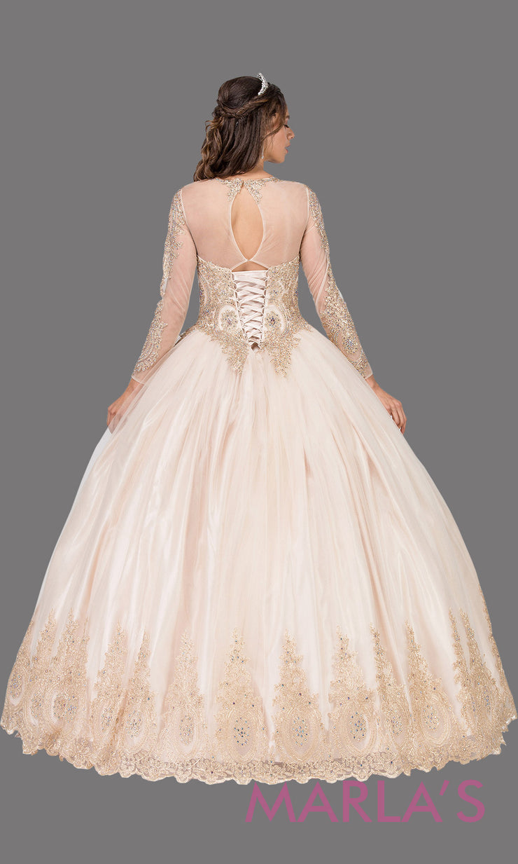 Back of Long sleeve champagne quinceanera ballgown with lace. This high neck corset back gold ball gown can be worn for Sweet 16 Birthday, Sweet 15, Engagement Ball Gown Dress, Wedding Reception Dress, Debut. Perfect indowestern gown.Plus sizes Avail.