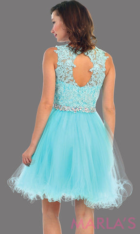 Back of short puffy aqua high neck dress with lace bodice. It features a rhinestone belt around the waistline. This is perfect for blue grade 8 graduation, confirmation, bar mitzvah, semi formal. Available in plus sizes.