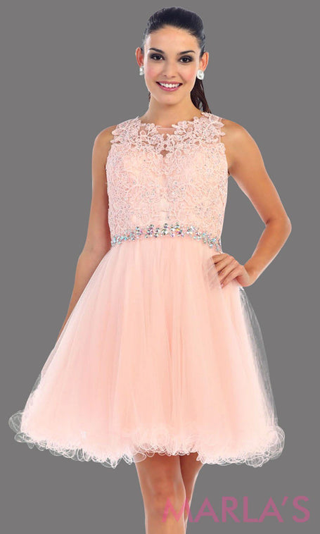 Short puffy blush high neck dress with lace bodice. It features a rhinestone belt around the waistline. This is perfect for pink grade 8 graduation, confirmation, bar mitzvah, semi formal. Available in plus sizes