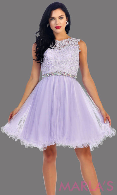 Short puffy lilac high neck dress with lace bodice. It features a rhinestone belt around the waistline. This is perfect for light purple grade 8 graduation, confirmation, bar mitzvah, semi formal. Available in plus sizes