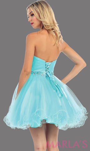 Back of Short strapless puffy aqua dress with rhinestone belt. It has a corset back. This is a perfect light blue grade 8 graduation dress, aqua damas dress, or sweet 16 dress. Available in plus sizes.