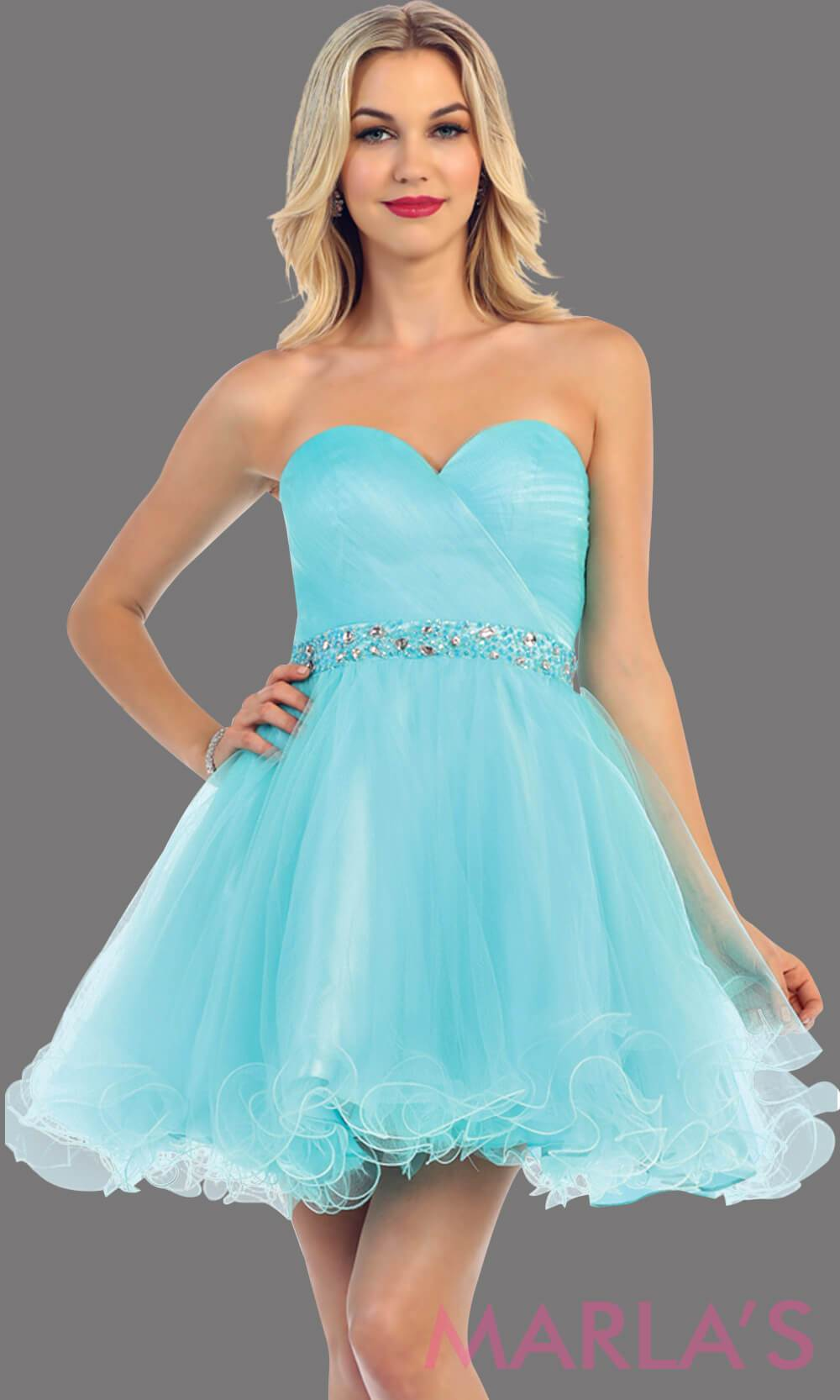 Short strapless puffy aqua dress with rhinestone belt. It has a corset back. This is a perfect light blue grade 8 graduation dress, aqua damas dress, or sweet 16 dress. Available in plus sizes