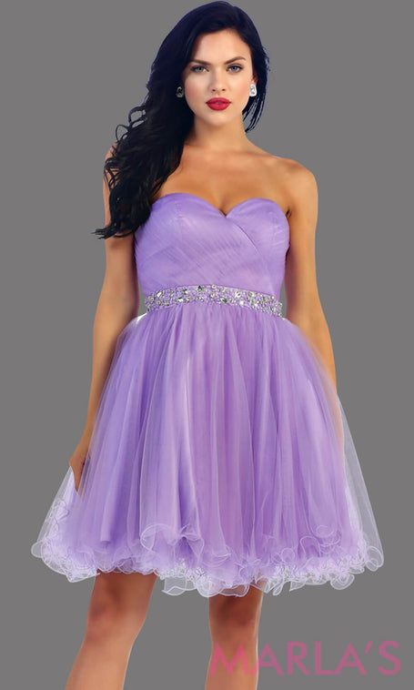 Short strapless puffy lilac dress with rhinestone belt. It has a corset back. This is a perfect light purple grade 8 graduation dress, lavendar damas dress, or sweet 16 dress. Available in plus sizes.