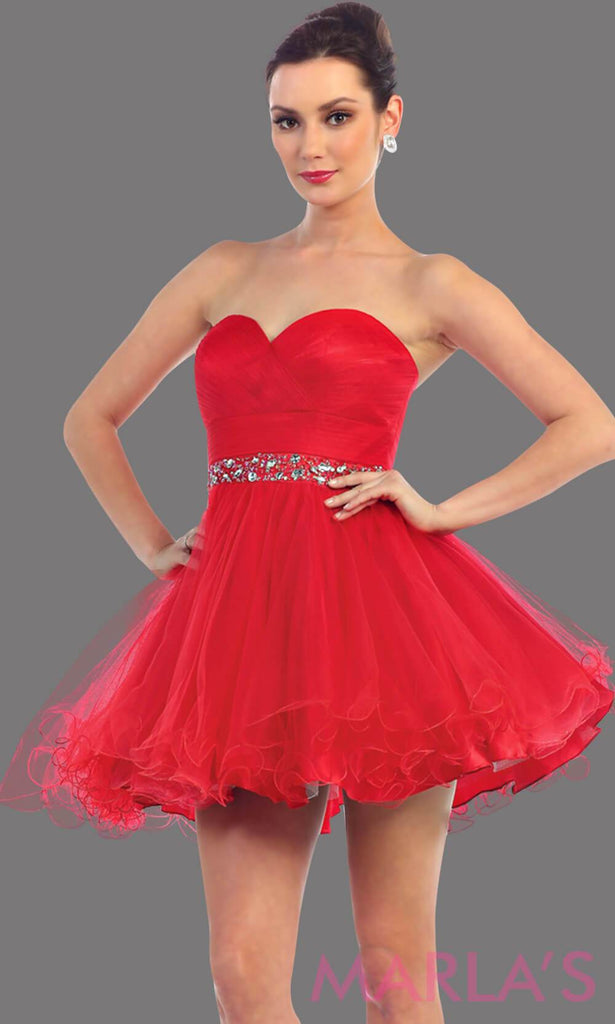 Short strapless puffy red dress with rhinestone belt. It has a corset back. This is a perfect red grade 8 graduation dress, red damas dress, or sweet 16 dress. Available in plus sizes.