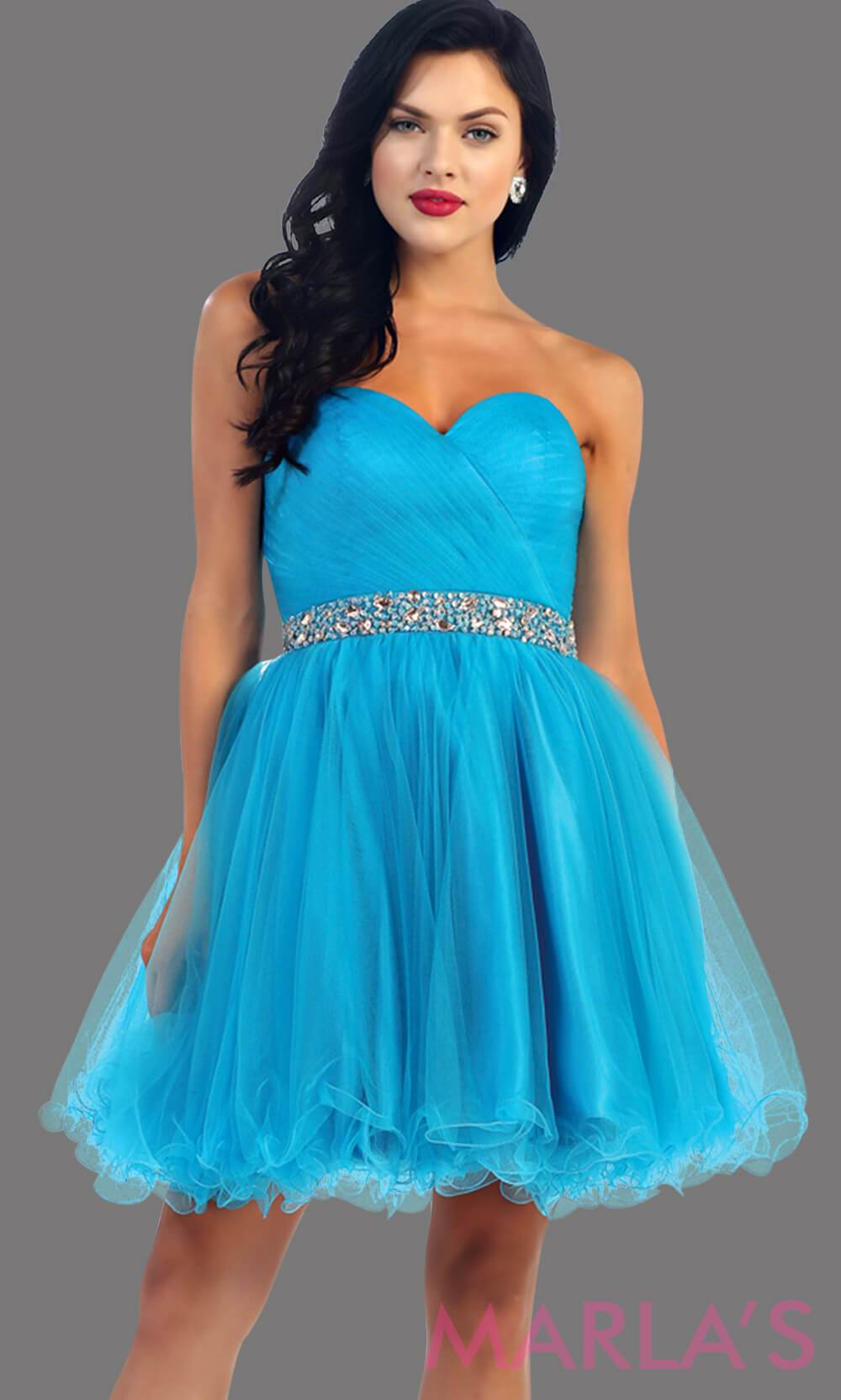 Short strapless puffy turquoise dress with rhinestone belt. It has a corset back. This is a perfect light blue grade 8 graduation dress, blue damas dress, or sweet 16 dress. Available in plus sizes