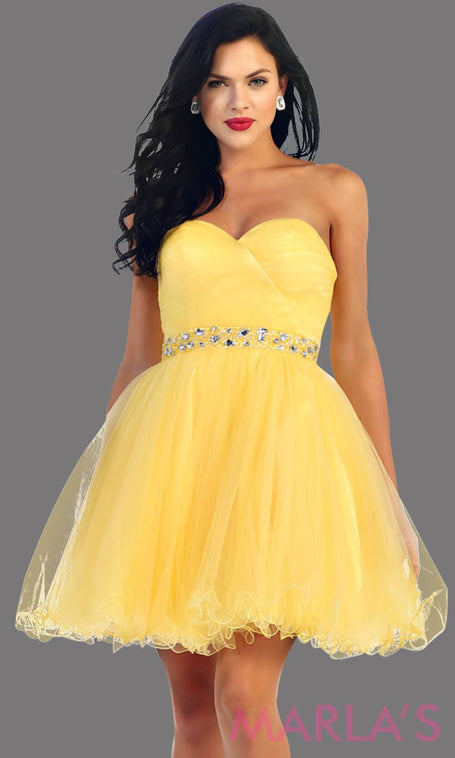 Short strapless puffy yellow dress with rhinestone belt. It has a corset back. This is a perfect yellow grade 8 graduation dress, yellow damas dress, or sweet 16 dress. Available in plus sizes