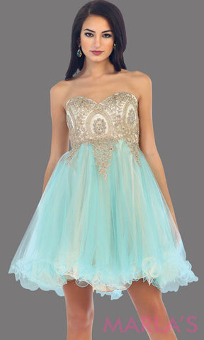 Short two tone strapless puffy aqua dress with a corset back. This is a perfect grade 8 grad dress, light blue graduation dress, homecoming, semi formal, bridal shower. Available in plus sizes