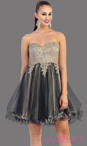 Short two tone strapless puffy black dress with a corset back. This is a perfect grade 8 grad dress, black graduation dress, homecoming, semi formal, bridal shower. Available in plus sizes