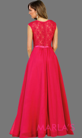 Back Long flowy hot pink dress with lace back and cap sleeve. It has a satin band. Perfect for fuchsia bridesmaids, pink prom, wedding guest dress, formal gown, destination wedding, long party dress, western dress, damas. Available in Plus Sizes.