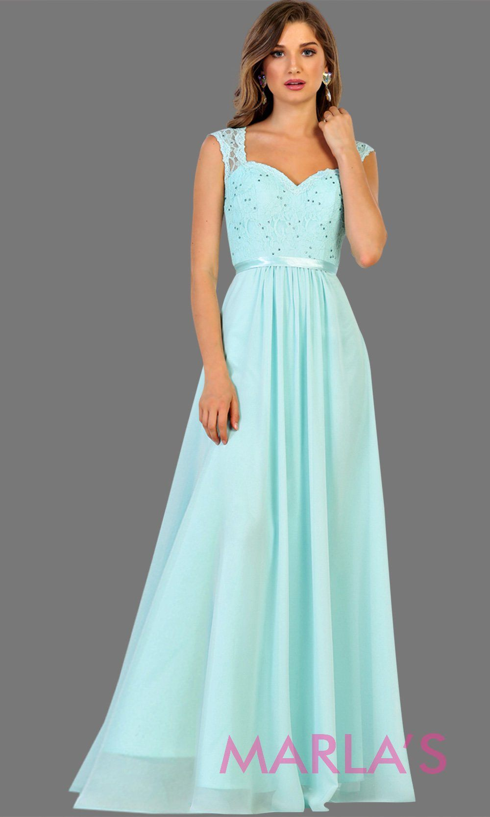 Long flowy aqua dress with lace back and cap sleeve. It has a matching satin band. Perfect for light blue bridesmaids, prom, wedding guest dress, formal gown, destination wedding, long party dress, western dress, damas. Available in Plus Sizes.