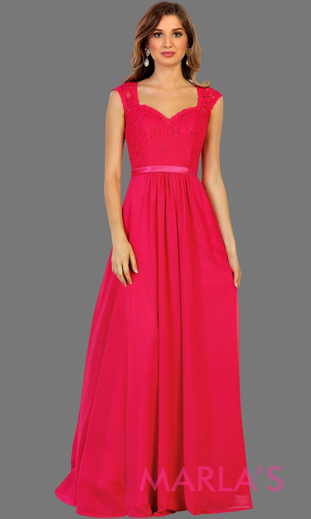 Long flowy hot pink dress with lace back and cap sleeve. It has a satin band. Perfect for fuchsia bridesmaids, pink prom, wedding guest dress, formal gown, destination wedding, long party dress, western dress, damas. Available in Plus Sizes.